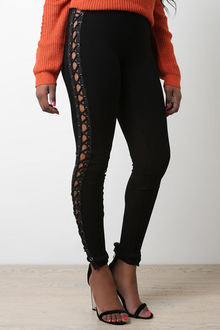 Side Eyelet Lace-Up Leggings - Beauty & Bronze Clothing and Accessories