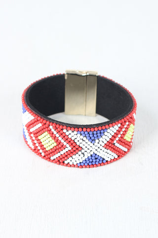 Beaded Pattern Band Cuff Bracelet - Beauty & Bronze Clothing and Accessories