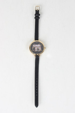 Thin Strap Etched Elephant Watch - Beauty & Bronze Clothing and Accessories
