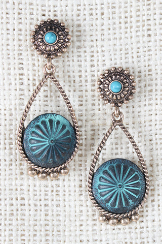 Casted Circle Etched Teardrop Earrings - Beauty & Bronze Clothing and Accessories
