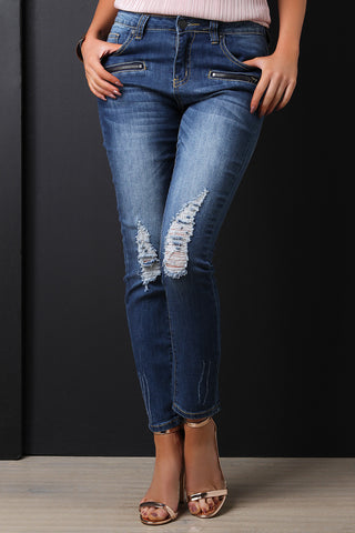 Distressed Pocket Zipper Skinny Jeans - Beauty & Bronze Clothing and Accessories