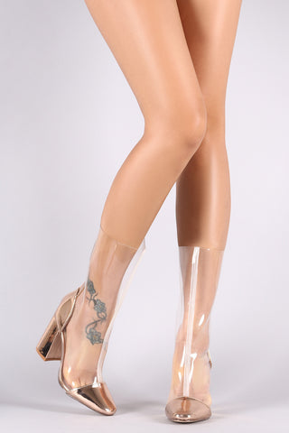 Metallic Trim Transparent Chunky Heeled Mid Calf Boots - Beauty & Bronze Clothing and Accessories