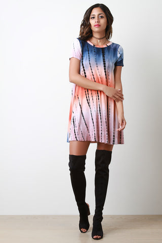 Tie Dye Open Back T-Shirt Dress