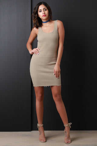 Ribbed Knit Tank Open Back Bodycon Mini Dress