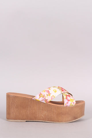 Qupid Flower Print Crisscross Flatform Wedge Sandal