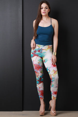 Colorful Floral High Waisted Lightweight Leggings