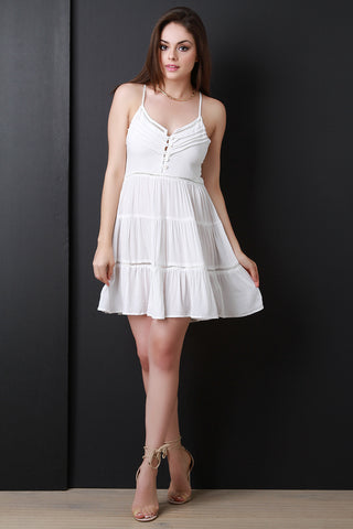 Button Up Tiered Baby Doll Dress