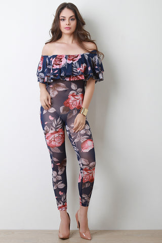 Bardot Tiered Ruffle Semi-Sheer Floral Jumpsuit