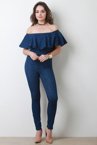 Denim Off-The-Shoulder Ruffle Fitted Jumpsuit