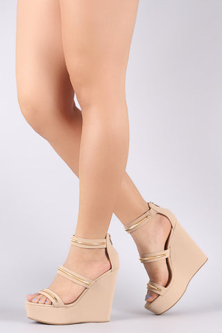 Bamboo Metallic Accent Triple Straps Open Toe Wedge