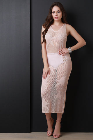 Star Knit Semi-Sheer Midi Dress