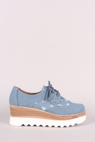 Distressed Denim Lace Up Lug Sole Oxford Platform Wedge