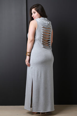 French Terry Hooded Slashed Back Maxi Dress
