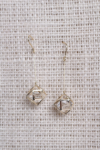 Geometric Caged Crystal Dainty Drop Earring