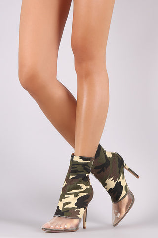 Camouflage Mesh Inset Pointy Toe Stiletto Booties