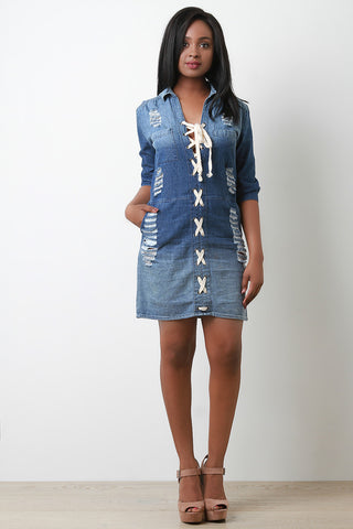 Lace Up Collared Denim Dress