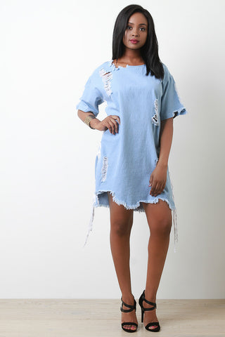 Distress Side Lace-Up Denim Shift Dress