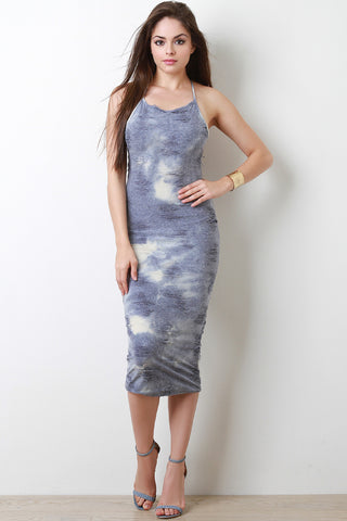 Bleach Wash Distress Midi Dress