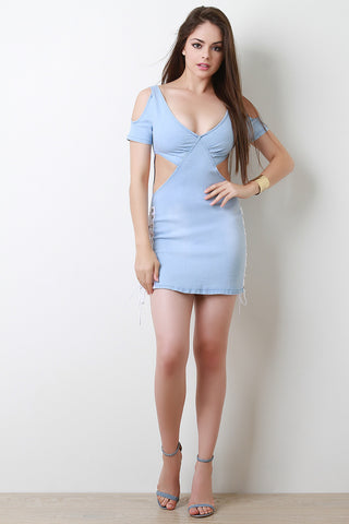 Cold Shoulder Cut Out Lace-Up Denim Mini Dress