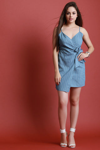 Chambray Pin Striped Wrap Dress