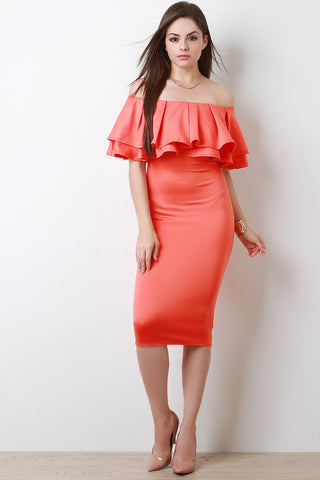 Off The Shoulder Tiered Ruffle Midi Dress