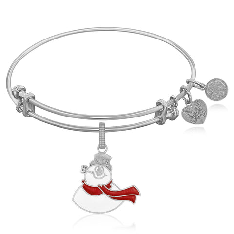 Expandable Bangle in White Tone Brass with Frosty The Snowman Symbol - Beauty & Bronze Clothing and Accessories
