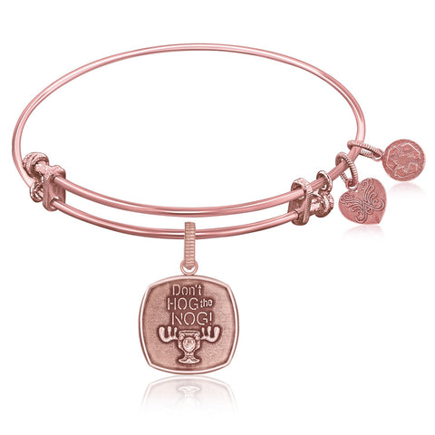 Expandable Bangle in Pink Tone Brass with Dont Hog The Nog Symbol - Beauty & Bronze Clothing and Accessories