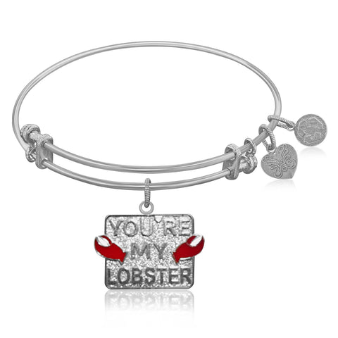 Expandable Bangle in White Tone Brass with Youre My Lobster Symbol - Beauty & Bronze Clothing and Accessories