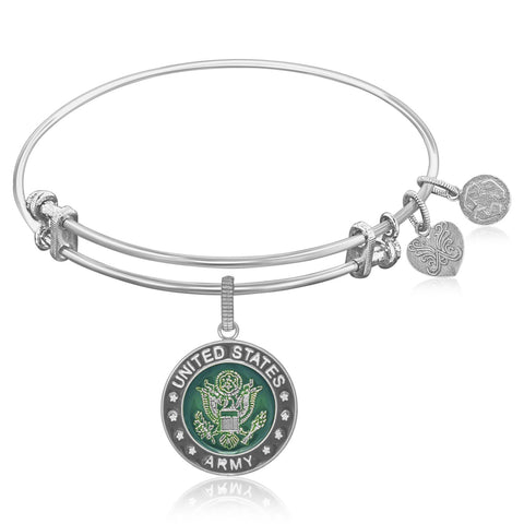 Expandable Bangle in White Tone Brass with Enamel U.S. Army Symbol - Beauty & Bronze Clothing and Accessories