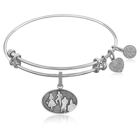 Expandable Bangle in White Tone Brass with Wizard of Oz Group Silhouette Symbol - Beauty & Bronze Clothing and Accessories