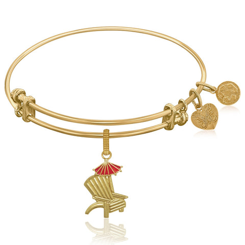 Expandable Bangle in Yellow Tone Brass with Enamel Beach Chair Charm Symbol - Beauty & Bronze Clothing and Accessories