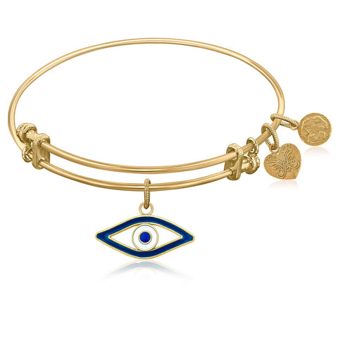 Expandable Bangle in Yellow Tone Brass with Evil Eye Symbol - Beauty & Bronze Clothing and Accessories