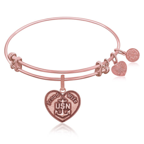Expandable Bangle in Pink Tone Brass with U.S. Navy Proud Wife Symbol - Beauty & Bronze Clothing and Accessories