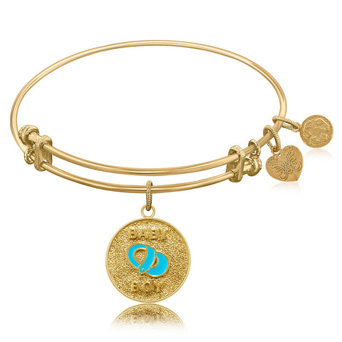 Expandable Bangle in Yellow Tone Brass with Baby Boy Symbol - Beauty & Bronze Clothing and Accessories