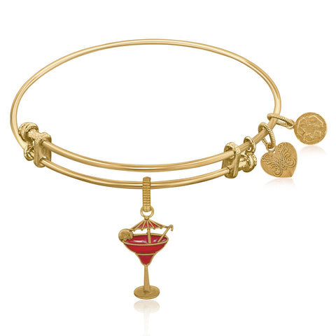 Expandable Bangle in Yellow Tone Brass with Enamel Umbrella Drink Charm Symbol - Beauty & Bronze Clothing and Accessories