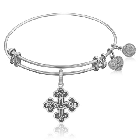 Expandable Bangle in White Tone Brass with Badge Of Courage Symbol - Beauty & Bronze Clothing and Accessories