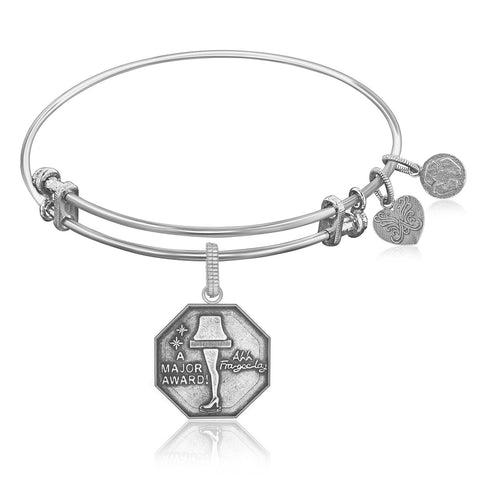 Expandable Bangle in White Tone Brass with Leg Lamp AKA A Major Award Symbol - Beauty & Bronze Clothing and Accessories