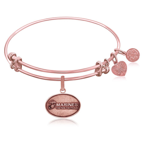 Expandable Bangle in Pink Tone Brass with U.S. Marines The Few The Proud Symbol - Beauty & Bronze Clothing and Accessories