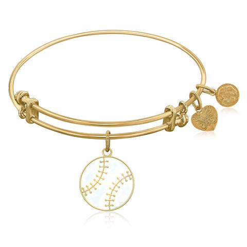 Expandable Bangle in Yellow Tone Brass with Baseball Symbol - Beauty & Bronze Clothing and Accessories