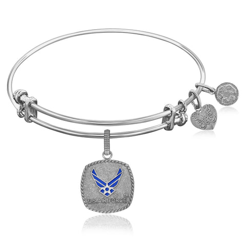Expandable Bangle in White Tone Brass with Enamel U.S. Air Force Symbol - Beauty & Bronze Clothing and Accessories