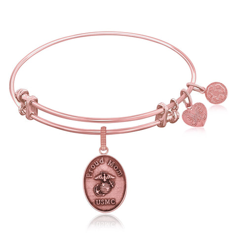 Expandable Bangle in Pink Tone Brass with U.S. Marine Corps Proud Mom Symbol - Beauty & Bronze Clothing and Accessories