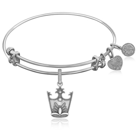 Expandable Bangle in White Tone Brass with Glinda Crown Symbol - Beauty & Bronze Clothing and Accessories