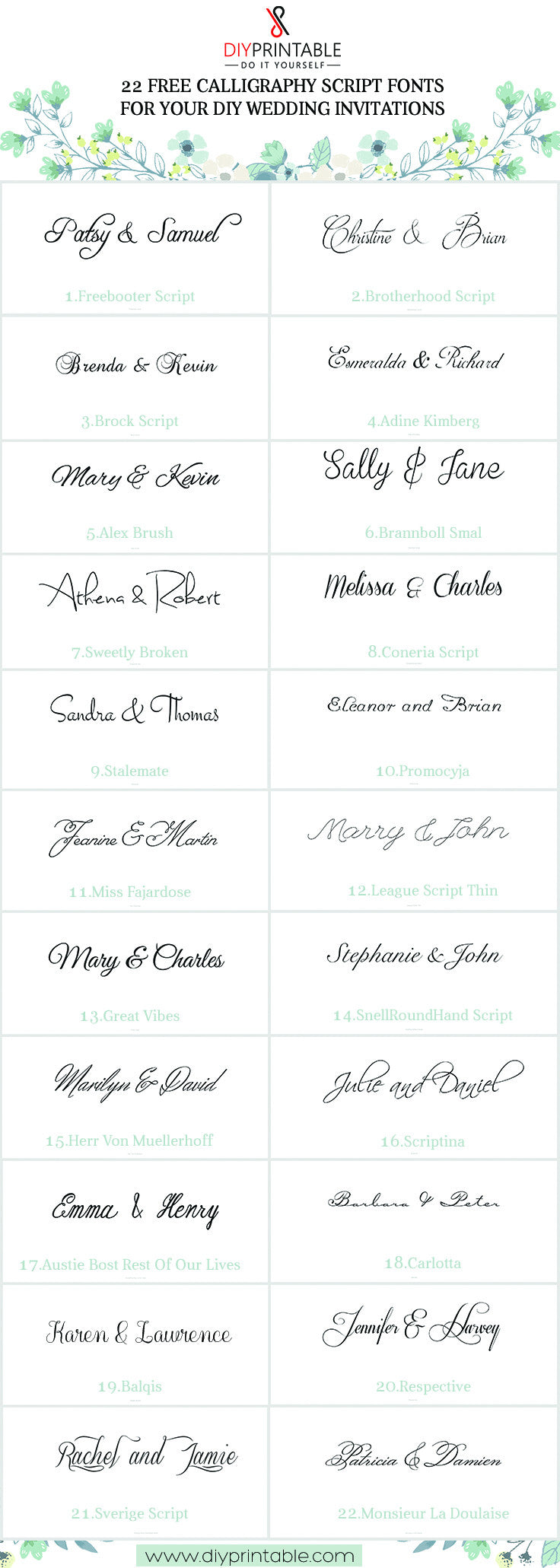 22 Free Calligraphy Script Fonts for Your DIY Wedding Invitations – Free Calligraphy Fonts for Wedding Invitations