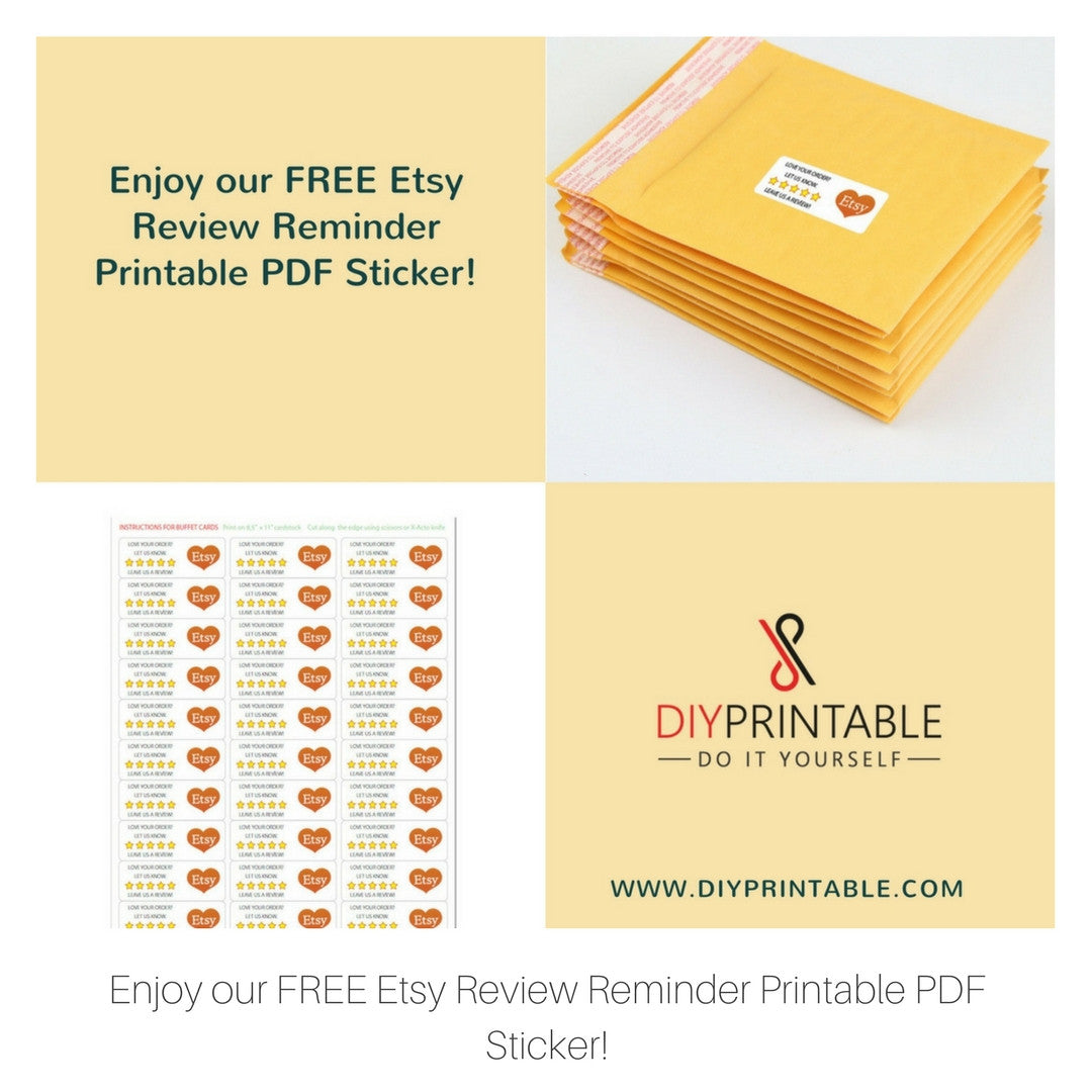 FREE Etsy Review Reminder Printable PDF Sticker!