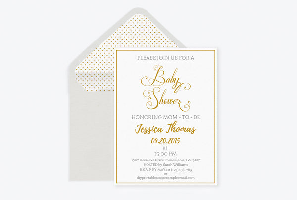 Gold Calligraphy Baby Shower Invitation with Envelope Liner Templates