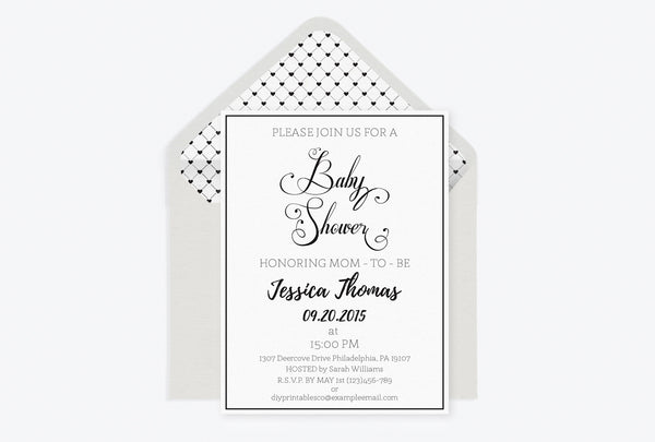 Calligraphy Baby Shower Invitation with Envelope Liner Templates