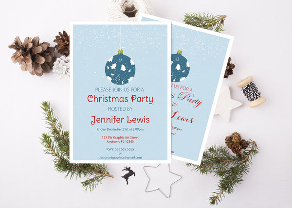 Christmas Ball Ornament Party Invitation Template