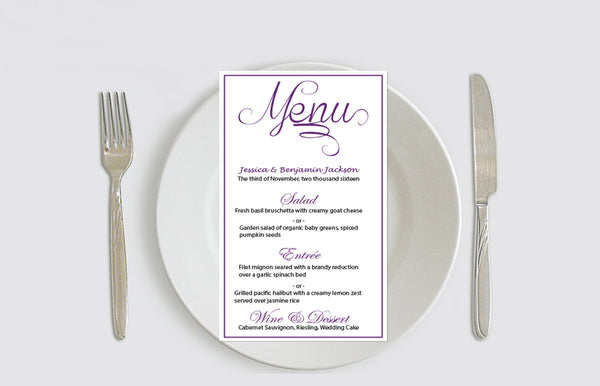 Eggplant Calligraphy Menu Card Editable PDF Template - DIYprintable