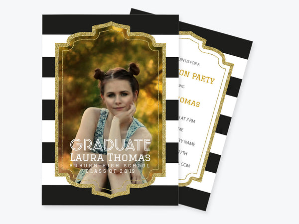 Gold Glitter Graduation Photo Invitation PDF Template
