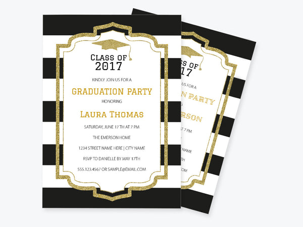 Black & White Stripe Glitter Frame Graduation Invitation PDF Template
